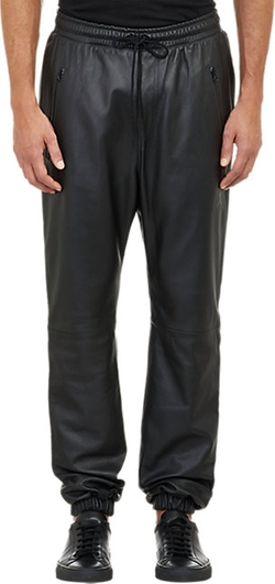 Leather Drop-Rise Jogger Pants by Barneys New York X Jordan in Empire