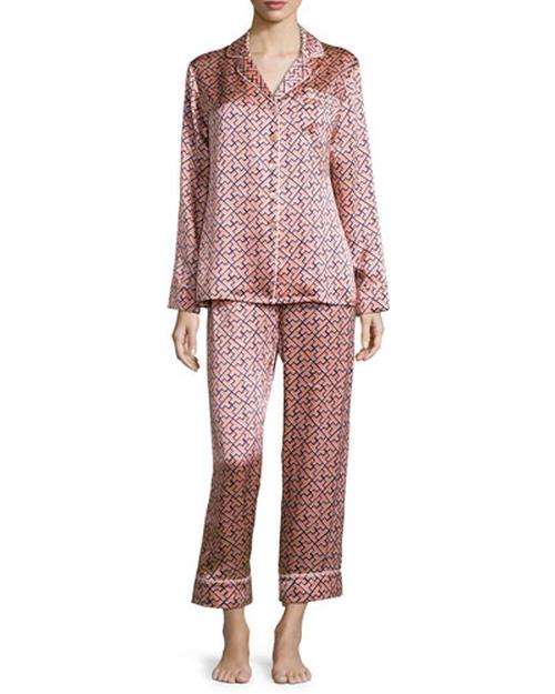 Lila Mizuki Printed Long-Sleeve Pajama Set by Olivia von Halle in Black-ish - Season 2 Episode 9