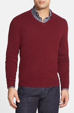 Cashmere V-Neck Sweater by John W. Nordstrom in New Girl