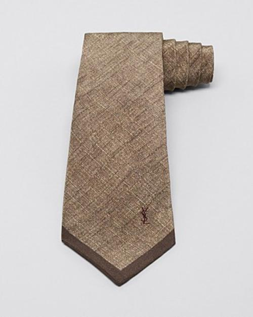 Print Solid Tip Skinny Tie by Yves Saint Laurent in Yves Saint Laurent