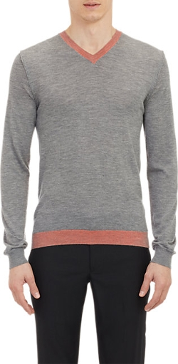 Contrast Rib-Knit V-Neck Sweater by Jil Sander in Thor
