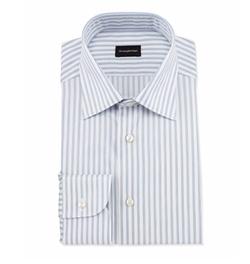 Wide Striped Woven Dress Shirt by Ermenegildo Zegna in Ballers