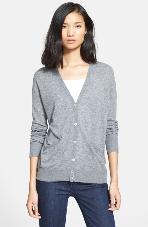 'Sullivan' V-Neck Cardigan by Equipment in Barely Lethal