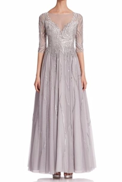 Embroidered Illusion Gown by Basix Black Label in Empire