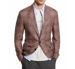 Plaid Linen-Blend Two-Button Blazer by Brunello Cucinelli in Rosewood