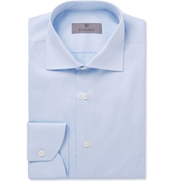 Slim-Fit Spread Collar Cotton Shirt by Canali in American Ultra