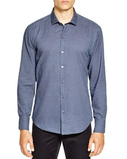Agerbeek Microcheck Regular Fit Button Down Shirt by Zachary Prell in The Mindy Project