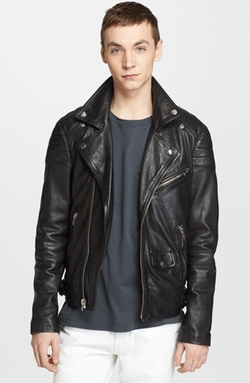 'Leather Jacket 31' Leather Moto Jacket by BLK DNM in Black Mass