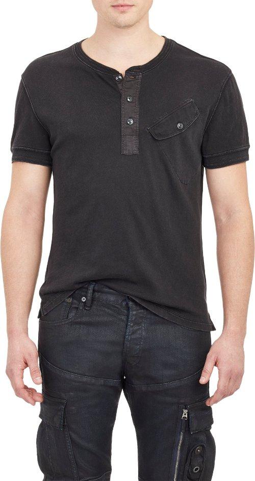 Black Label Short-Sleeve Henley Shirt by Ralph Lauren in Entourage