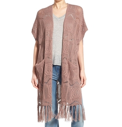 Open Knit Fringe Long Cardigan by Hinge in Fuller House