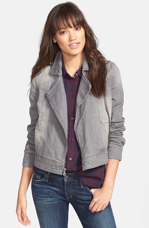 Brooklyn Stretch Denim Moto Jacket by Paige Denim in Crazy, Stupid, Love.