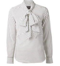 Striped Pussy Bow Blouse by Derek Lam in Scandal
