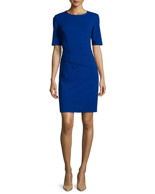 Half-Sleeve Waist-Paneled Dress by Lafayette 148 New York in Scandal