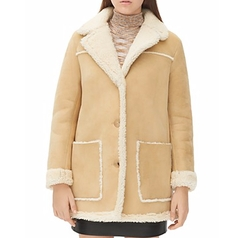 Meora Shearling Coat by Sandro in Empire