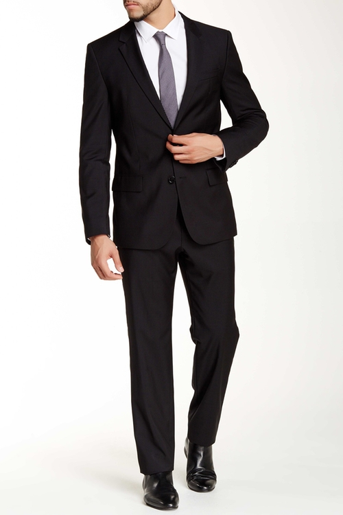 Solid Two Button Notch Lapel Wool Suit by Hugo Boss in My All American