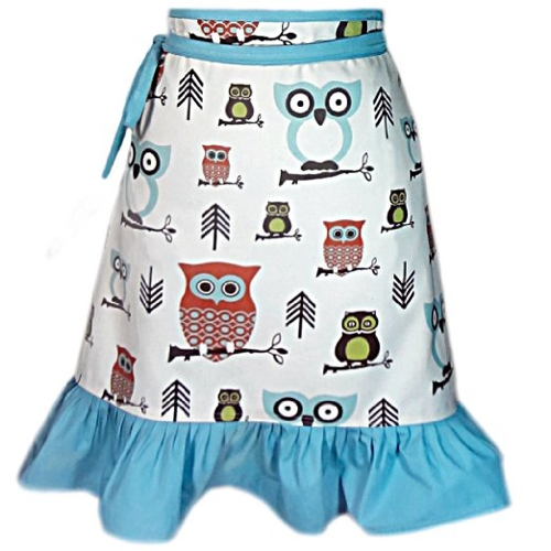 Hoot Hoot Hooray Owl Half Flirty Apron by Cate Chestnut in McFarland, USA