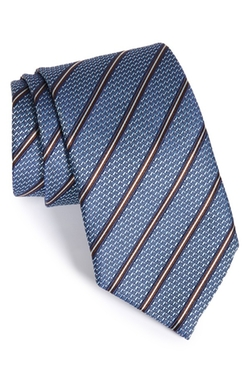 Woven Stripe Silk Tie by Ermenegildo Zegna in Billions