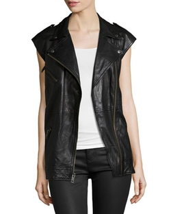 The Moto Infantry Leather Vest by Current/Elliott in Pretty Little Liars