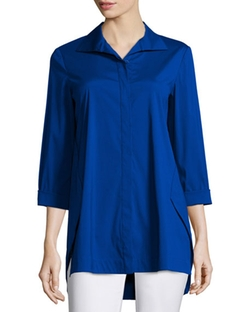 Marla Triangle-Seam Blouse by Lafayette 148 New York  in Grace and Frankie