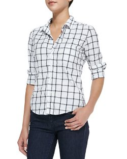 Barry Long-Sleeve Windowpane-Print Blouse by Frank & Eileen in If I Stay