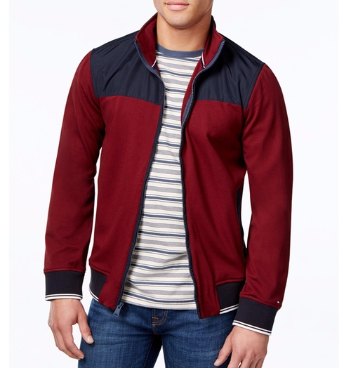 Tori Colorblocked Knit Bomber Jacket by Tommy Hilfiger in Point Break