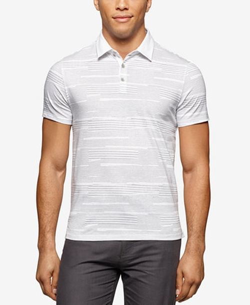 Printed Liquid Cotton Polo Shirt by Calvin Klein in Bleed for This