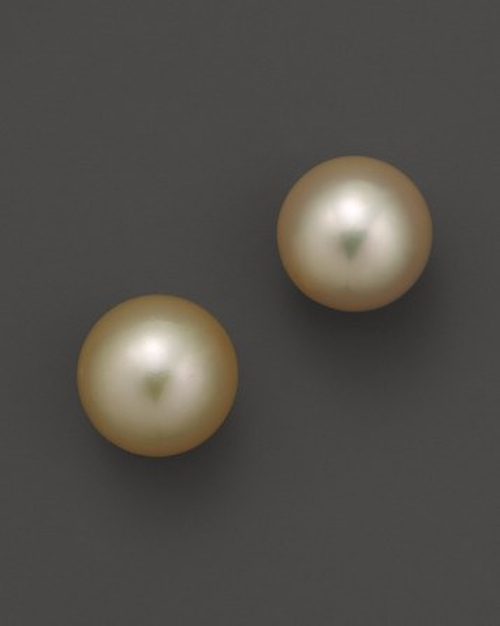 Golden South Sea Cultured Pearl Stud Earrings by Bloomingdale's in Mr. & Mrs. Smith
