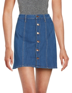 A-Line Button-Front Denim Skirt by Tinsel in Love