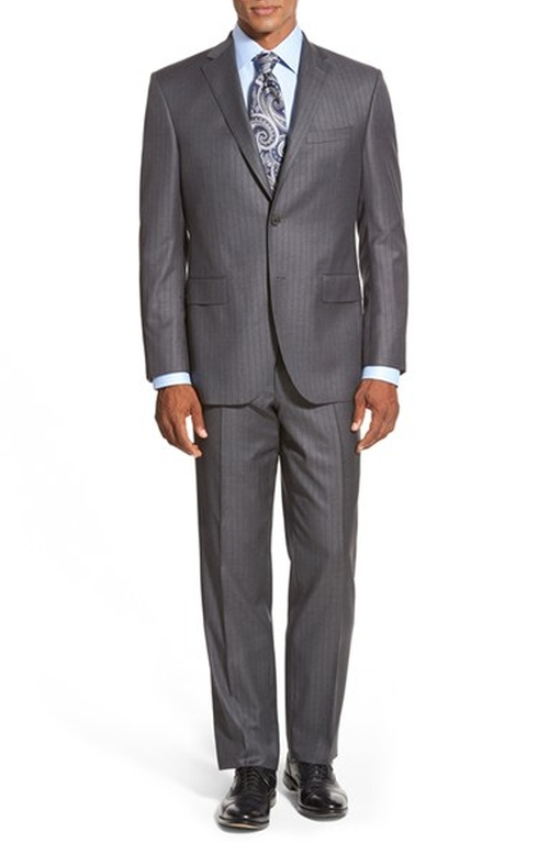 'Ryan' Classic Fit Stripe Wool Suit by David Donahue in The Good Wife