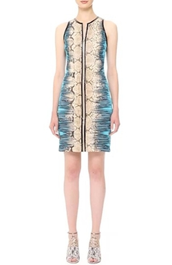 Leather Trim Snake Print Jersey Dress by Roberto Cavalli in Empire