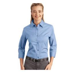 Womens 3/4 Sleeve Button Down With Ribbed Side Trim by JTomson in Sabotage