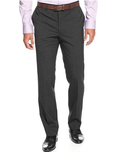 Wool-Blend Grey Tic Slim-Fit Dress Pants by Kenneth Cole New York in Fight Club