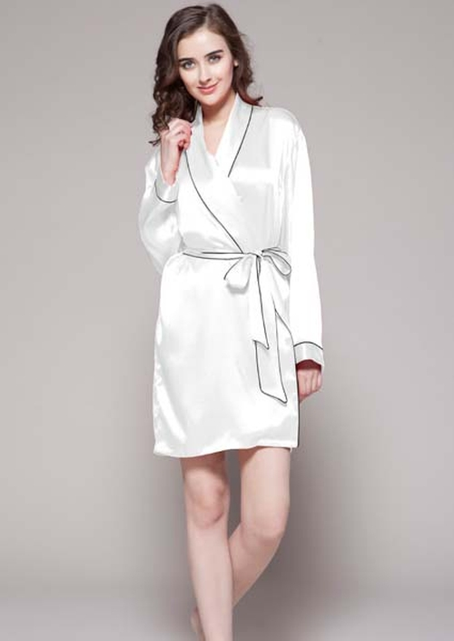 Womens Silk Robe with Contrast Trim by Reve Dress in Mr. & Mrs. Smith