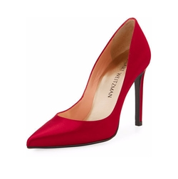 Curvia Satin Pointed-Toe Pumps by Stuart Weitzman in Happy Death Day