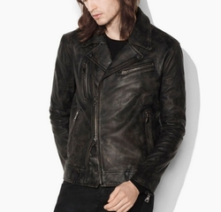 Asymmetrical Leather Biker Jacket by John Varvatos in Shadowhunters