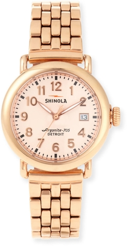 The Runwell Rose Gold Watch w/Bracelet Strap by Shinola in Jurassic World