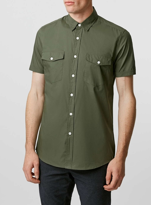 Khaki Double Pocket Poplin Short Sleeve Casual Shirt by Topman in Pretty Little Liars - Season 6 Episode 16