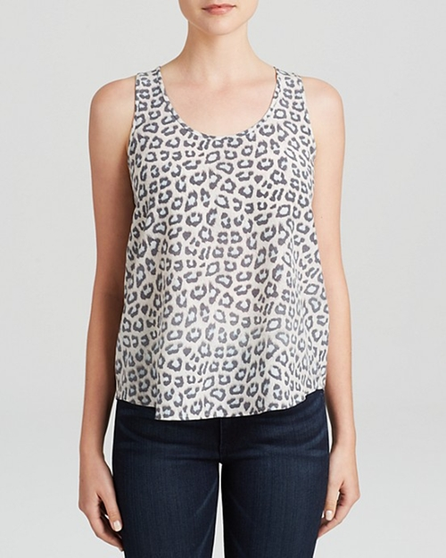 Tank Beilin Leopard Printed Silk Top by Joie in Pretty Little Liars - Season 6 Episode 4