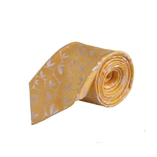 Hand Made Yellow Floral Print Neck Tie by Holliday & Brown in Suits - Season 5 Episode 8