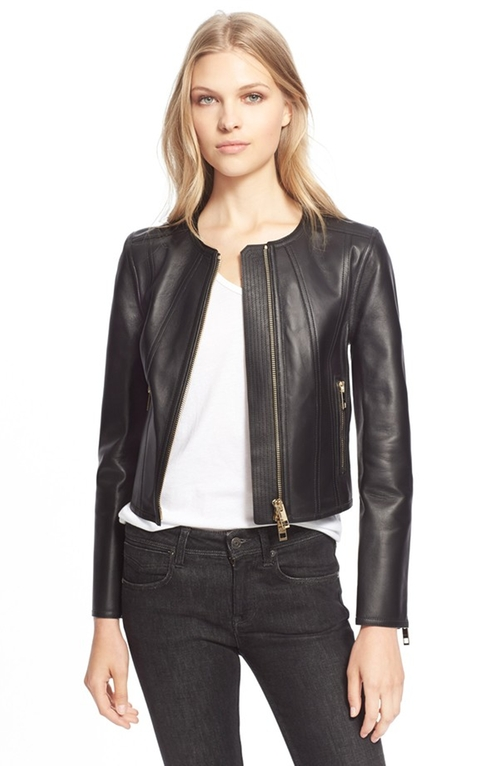 'Haylands' Collarless Lambskin Leather Zip Front Jacket by Burberry London in Scandal