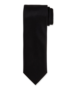 Solid Silk Satin Tie by Brioni in Suits