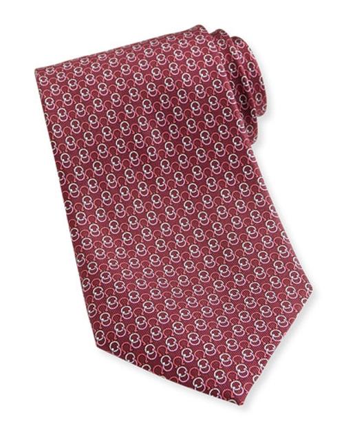 Interlock Gancini-Pattern Woven Tie by Salvatore Ferragamo in Self/Less