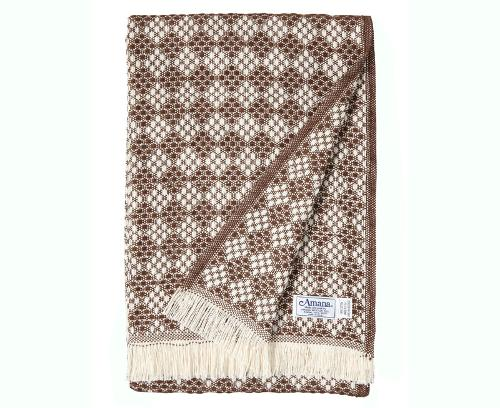 Natural/Brown Cotton Diamond Weave Blanket by AMANA in Dawn of the Planet of the Apes