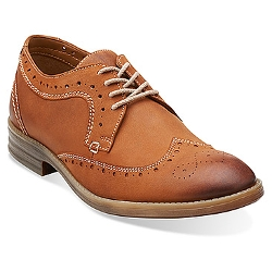 Men's Delsin Wing Tan Leather Shoes by Clarks in Masterminds