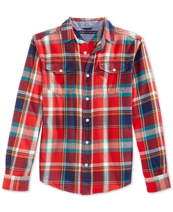 Boys' Haring Plaid Shirt by Tommy Hilfiger in Black-ish
