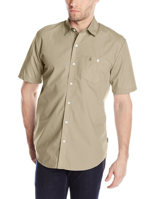Everett Solid Short Sleeve Shirt by Volcom in The Walk