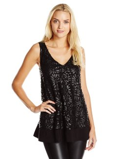 Women's Leather Applique Tunic Tank Top by Plenty by Tracy Reese in If I Stay