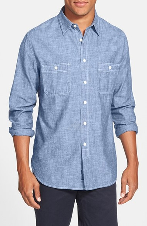 Trim Fit Selvedge Chambray Sport Shirt by Grayers in The A-Team