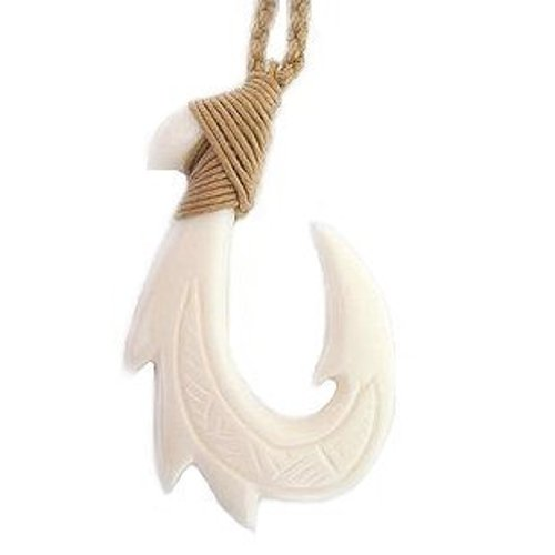 Hawaiian Jewelry Carved Bone Fish Hook Necklace by Zero Gravity Hawaii in Need for Speed