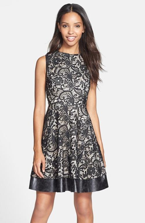 Faux Leather Trim Fit & Flare Dress by Jessica Simpson in Addicted
